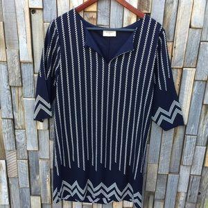 Everly dress sheath chevron navy medium